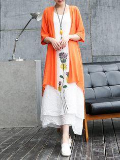 Shop Maxi Dresses - Vintage 3/4 Sleeve Painted Floral Maxi Dress online. Discover unique designers fashion at StyleWe.com.