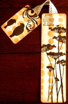 bookmark with silhouette stamps