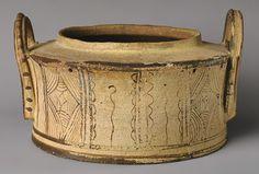Pyxis, ca. 1400–1100 b.c.; Late Minoan IIIB Minoan; Greece, Crete Terracotta