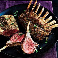 Herb Crusted Rack of Lamb Calories: 293 Fat: Saturated fat: Monounsaturated fat: Polyunsaturated fat: Protein: Carbohydrate: Fiber: Cholesterol: Iron: Sodium: Calcium: Lamb Recipes, Wrap Recipes, Cooking Recipes, Lamb Ribs, Lamb Chops, Roast Lamb, Crusted Rack Of Lamb, Lamb Dishes, Cooking Light
