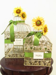 Bird Cage Wedding Card Shop - Set of Birdcage Wedding Cardholders in Champagne with Sunflowers Customized LDS003, $110.00 (http://www.birdcageweddingcardshop.com/set-of-birdcage-wedding-cardholders-in-champagne-with-sunflowers-customized-lds003/)