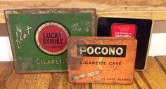 Vintage Tin Cigarette Boxes/Cases Lucky Strike, La Corona Whiffs, Pocono Cigarettes Delux Blend, Vintage Cigarette Case, Vintage Metal Box by Lalecreations on Etsy
