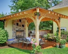 contemporary-pergola-roof-covering-with-stones-surround-fireplace-and-wood-covers