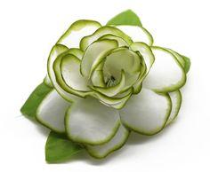 Hawaii Luau Party Dance Artificial Fabric Gardenia Flower Hair Clip White with Green Edge