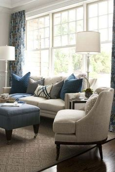 Love this chair. I want one for my bedroom.  Kate Singer Sitting Room at the Hampton Designer Showhouse - love the mix of blues and neutrals.