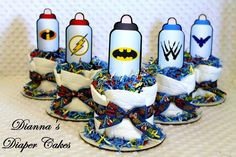 Superhero Baby Shower Ideas   Superhero Baby Bottles Mini Diaper Cakes Shower  Centerpieces