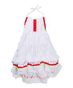 White & Red Pom-Pom Halter Dress - Girls #zulily #zulilyfinds
