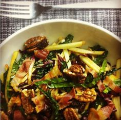 Kale-Apple Salad with Bacon and Candied Pecans
