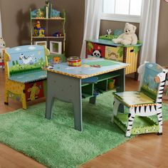 Fantasy Fields Sunny Safari Desk, Chair & Bench Set - W-8267A