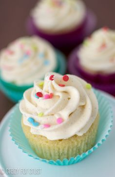 Perfect Vanilla Cupcakes by Crazy for Crust - #Cupcake, #Recipe, #Vanilla
