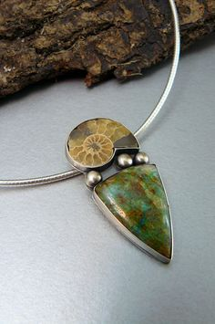 Fossil Necklace Chrysocolla and Ammonite Pendant by pmdesigns09