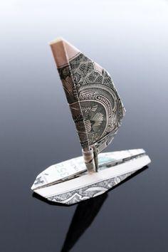 Dollar Bill Origami Windsurfer by craigfoldsfives.deviantart.com