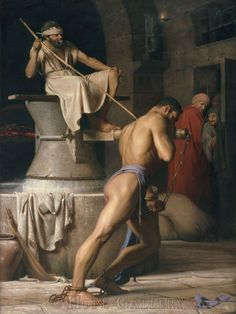 Samson - Carl Heinrich Bloch (1834-1890): Judges 16: 21 But the Philistines took him, and put out his eyes, and brought him down to Gaza, and bound him with fetters of brass; and he did grind in the prison house.