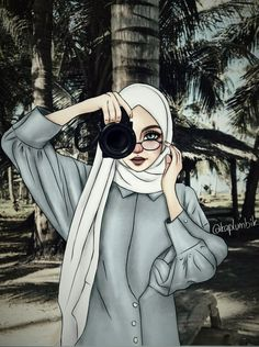 oh asmara, yang terindah mewarnai bumi 🎶🎵 Hijabi Girl, Girl Hijab, Girly Drawings, Cartoon Drawings, Girl Cartoon, Cartoon Art, Sarra Art, Hijab Drawing, Islamic Cartoon