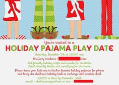 41b40bbc14 Chalkboard Christmas Pajama Party Invitations by McBooboos on Etsy