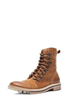Maison Martin Margiela|Suede Lace Up Boots in Honey