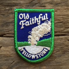 Old Faithful Yellowstone National Park Vintage Souvenir Travel Patch by HeydayRoadTrip on Etsy