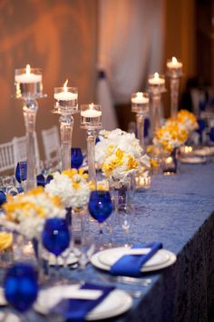 Blue And Yellow Wedding Table Decor Reception Centerpieces Themes