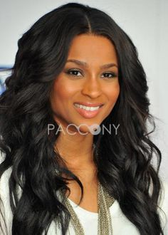 Soft Amazing Sexy Ciara Hairstyle Long Wavy Lace Wig 100% Human Hair about 24 Inches Luxurious Wigs - $346.99