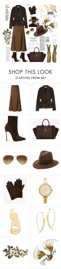"""""""Brown chic"""" by waltos ❤ liked on Polyvore featuring Jil Sander, Mauro Grifoni, Casadei, Yves Saint Laurent, Ray-Ban, rag & bone, New Look, Michael Kors, Coup De Coeur and Lana"""