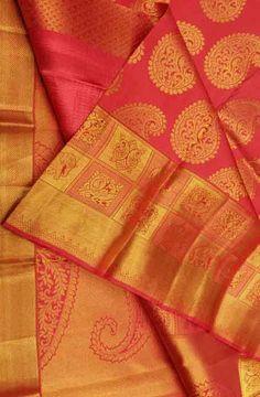 Pink and Golden Handloom Kanjeevaram Pure Silk Saree Kota Silk Saree, Pure Silk Sarees, Cotton Saree, Organza Saree, Chiffon Saree, Pattu Sarees Wedding, Latest Silk Sarees, Katan Saree, Traditional Silk Saree