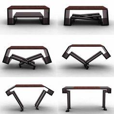 Table fonctionnelle et design, table transformable à l'envie en table basse ou en table à manger pouvant accueillir six couverts en deux mouvements par Duffy London
