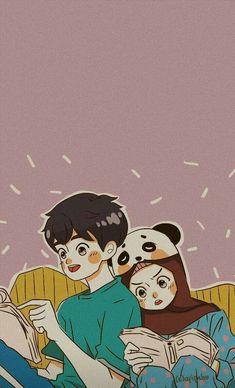 Wallpaper Wa, Cute Couple Wallpaper, Cute Muslim Couples, Cute Couples, Cartoon Styles, Cartoon Art, Couple Hijab, Islamic Cartoon, Hijab Cartoon