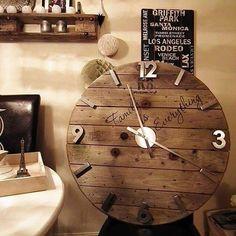 #watch #diy #klokke #kabeltrommel #gjenbruk #gjørdetselv #interiør #homemade #urverk #madebyme #decorations #kabeltrommelklokke #interiors