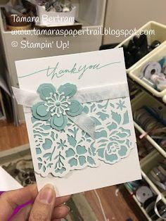 Tamaras Paper Trail: Stampin Up! Detailed Floral Thinlits, Botanical Builder Framelits (for the flower), Wonderful Words (retired) Scrapbooking, Scrapbook Cards, Stampin Up Anleitung, Paper Trail, Stamping Up Cards, Sympathy Cards, Paper Cards, Flower Cards, Creative Cards