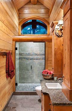 milled log homes oregon energy efficient log home oregon guest bathroom - Log Cabin Bathroom Designs