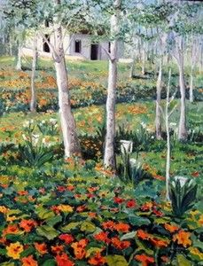 "Cathy Milner   OIL                      ""cottage with nasturtiums"""