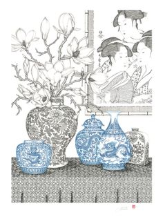 - portfolio three famous beauties - dipping pen and ink - x - 2012 Portrait Illustration, Illustrations And Posters, Watercolor Illustration, Vases, Sketch Painting, Botanical Flowers, China Painting, Typography Prints, Watercolor And Ink
