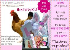 http://www.butlersinthebuff.co.uk/shop/hen-party-kits.html    All the accessories you need for your hen party fun and games!