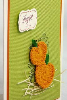 Happy Fall Pumpkins Card - Crocheted pumpkins, floss straw, and quilled stems combine to give this fall greeting a truly dimensional effect.