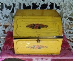 Vintage Bread Box   Yellow Metal  Pink Flowers  1940's   by YPSA, $27.50