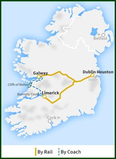 Railtours Ireland - The Cliffs of Moher, Bunratty Castle, The Burren and Galway Bay tour map