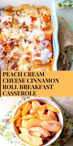 Breakfast Recipes Peach Cream Cheese Cinnamon Roll Breakfast Casserole - Refrigerated cinnamon rolls , peaches, pecans and cream cheese make this breakfast casserole not only easy but absolutely delicious! Best Breakfast Casserole, Best Breakfast Recipes, Sweet Breakfast, Breakfast Dishes, Breakfast Pie, Breakfast Ideas With Eggs, Christmas Breakfast Casserole, Gourmet Breakfast, Brunch Casserole