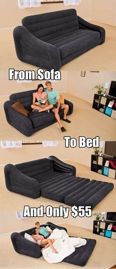 This Intex inflatable couch/bed is actually very similar to Model 68566E which has wrap around armrests and a raised headrest along the back of the sofa. They are very alike in color, size, function and price, so it really comes down to personal preference as to which style you prefer. They are both pull-out sofas, which great if you want multi-functional furniture as opposed to just purchasing an inflatable mattress. A blow-up couch that turns into a bed can also be handy on a camping trip…