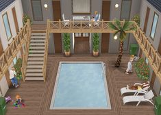 Sims Freeplay 🇫🇷 sur Instagram : Melrose place residence - inspiration. #thesimsfreeplay #residencedesign #simstagram #pool Casas The Sims Freeplay, Sims Freeplay Houses, Sims 4 Houses, Sims 4 Modern House, Sims 4 House Design, Sims 4 House Building, Sims House Plans, Sims Free Play, Casas The Sims 4