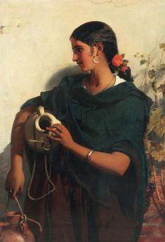 John Phillip (1817-1967). AGUADORA DE SEVILLA. Óleo sobre lienzo. 115 x 83 cm. Colección privada española.
