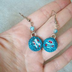 Blue Hand Painted Earrings  lovely spring gift by antagonistshop, $13.00