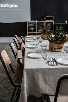 Simple yet effective table settings styled by www.thedetails.co at Koskela Gallery for Thankyou's Body Care Media Launch Event.   www.thankyou.co
