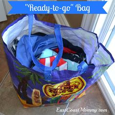Ready-to-go bags... helps a busy mom to get out of the house quicker with her kids.