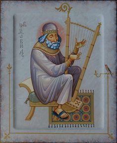 St David by Oleg Shurkus Religious Images, Religious Icons, Religious Art, Byzantine Icons, Byzantine Art, Christian Symbols, Christian Art, Religion, Medieval Manuscript