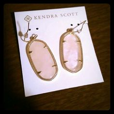 Rose Quartz Elles Almost brand new elles.  I decided to upgrade to danielles so I just need to sell these!  No tarnish.  Still have backs.  Can ship in a dust bag.  Also listed on Ⓜercari for less. Kendra Scott Jewelry Earrings
