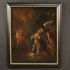 "Price: 2400€ French painting of the late 18th century. Work of art oil on canvas depicting sacred art ""Jesus in the Garden of Gethsemane"". Painting that represents Jesus in prayer flanked by angels and in the background you can see Judah and the Roman soldiers. Ebonized and gilded frame made by wood from the 20th century. Painting in a discreet state of conservation. #antiques #antiquariato Visit our website www.parino.it"