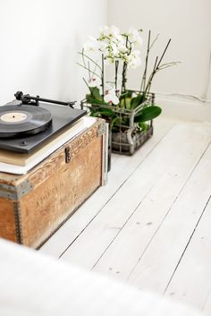 Vintage record player on trunk - love