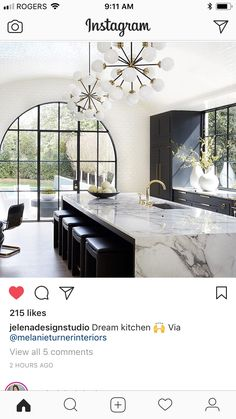 Omg that waterfall marble island is my dream! 😍 Omg that waterfall marble island is my dream! The Design Files, Küchen Design, House Design, Design Elements, Modern Kitchen Design, Interior Design Living Room, Home Decor Kitchen, Kitchen Ideas, Beautiful Kitchens