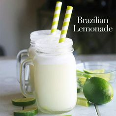 Brazilian Lemonade - Cut 2 skinned limes in half and squeeze out the juice. Keep the rinds and set the juice aside. In a blender, combine the lemon rinds with 3 cups of water. Blend for one minute until the mixture is coarsely mixed and frothy. Strain the mixture through a fine-mesh strainer. In the blender, add lemon rind mixture, 3c water, 1/4c sugar, lime juice  and 3tbsp sweetened condensed milk and blend 15 seconds. Add 2c ice and blend until smooth. Serve immediately.