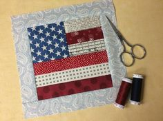 Fact: there's no better way for quilters to celebrate the Fourth of July than by stitching a scrappy flag quilt block. Your only decision: whether to make it your only patriotic quilt project, or the first of many! House Quilt Block, House Quilts, Quilt Blocks, Quilting Tips, Quilting Projects, Sewing Projects, Sewing Ideas, Sewing Patterns, Box Patterns